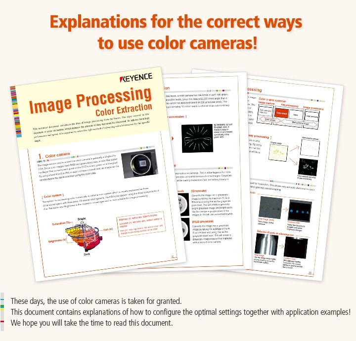 These days, the use of color cameras is taken for granted.  This document contains explanations of how to configure the optimal settings together with application examples!  We hope you will take the time to read this document.