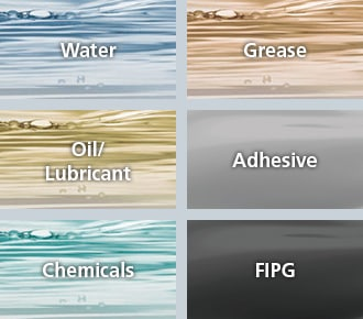 Water, Grease, Oil/Lubricant, Adhesive, Chemicals, FIPG