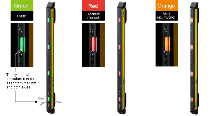 Highly visible, three color status indicators