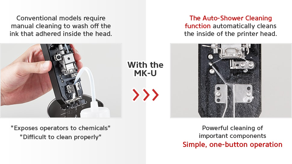 Catalog Download, [Exposes operators to chemicals] [Difficult to clean properly] / With the MK-U / The Auto-Shower Cleaning function automatically cleans the inside of the printer head. Powerful cleaning of important components Simple, one-button operation