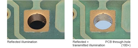 Reflected illumination/Reflected + transmitted illumination PCB through-hole(100×)