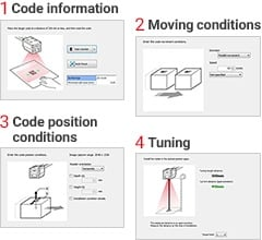 1.Code information 2.Moving conditions 3.Code position conditions 4.Tuning