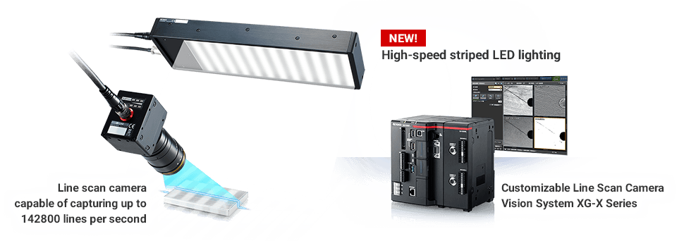 [NEW!/ high-speed striped LED lighting][Line scan camera capable of capturing up to 142800 lines per second][Customizable Line Scan Camera Vision System XG-X Series]