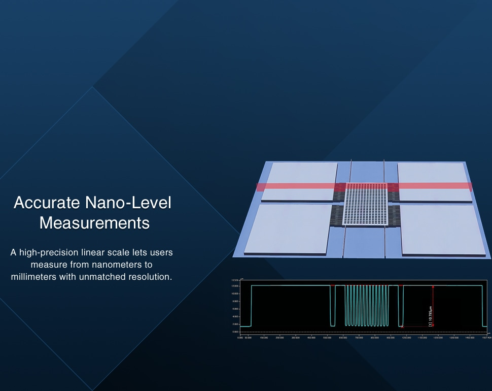 [Accurate Nano-Level Measurements] A high-precision linear scale lets users measure from nanometers to millimeters with unmatched resolution.