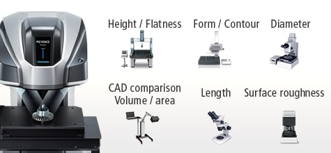 [Height / Flatness] [Form / Contour] [Diameter] [CAD comparison Volume / area] [Length] [Surface roughness]
