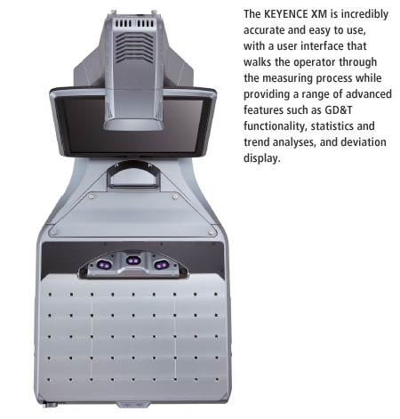 The KEYENCE XM is incredibly accurate and easy to use, with a user interface that walks the operator through the measuring process while providing a range of advanced features such as GD&T functionality, statistics and trend analyses, and deviation display.