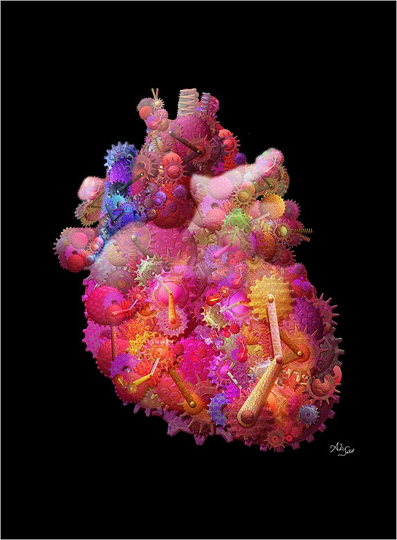 Image: An image of the heart composed of artificial cells,...