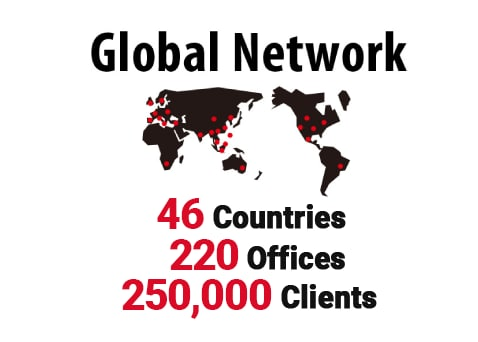 Global Network 46 Countries 210 Offices 250,000 Clients