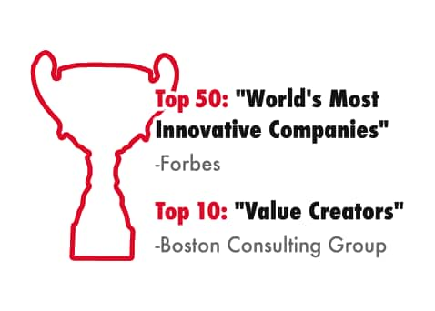 Top 50: World's Most Innovative Companies -Forbes Top 10: Value Creators -Boston Consulting Group