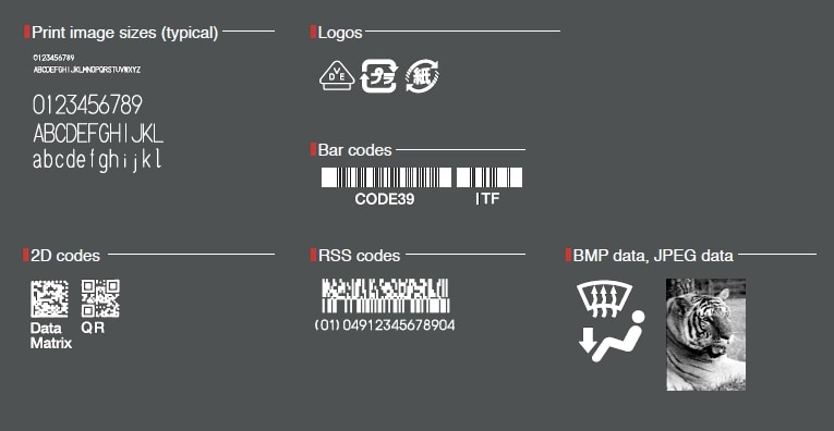 Print image sizes (typical), Logos, ar codes, 2D codes, RSS codes, BMP data, JPEG data