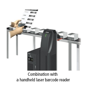 Combination with a handheld laser barcode reader