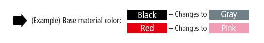 (Example) Base material color: Black ➝ Changes to Gray, Red ➝ Changes to Pink