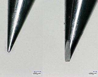 Observation of a chipped tool tip