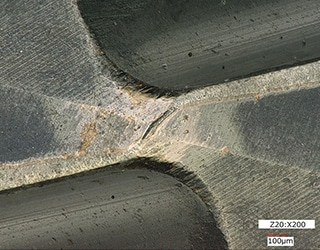 Observation of a cracked mill blade