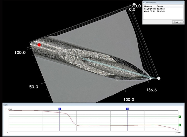 3D shape and profile measurement of medical needle tip