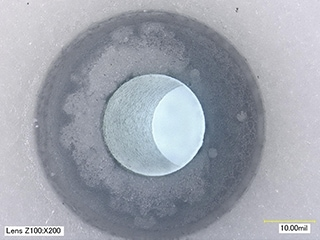 Appearance inspection of pacemaker component surface and side wall of hole (200x)