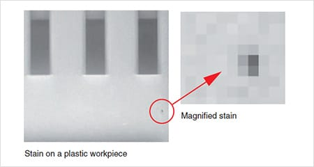 Stain on a plastic workpiece Magnified stain