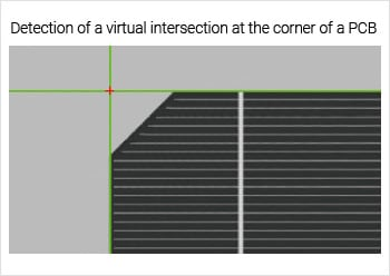 Detection of a virtual intersection at the corner of a PCB