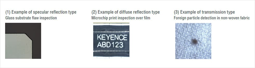 (1)Example of specular reflection type : Glass substrate flaw inspection / (2)Example of diffuse reflection type : Microchip print inspection over film / (3)Example of transmission type : Foreign particle detection in non-woven fabric
