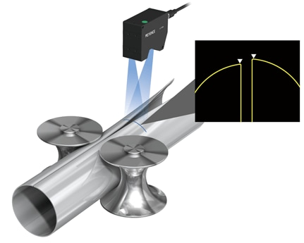 Example 3: Welding position measurement of ERW pipes